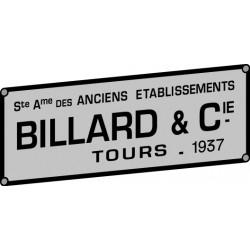 PLAQUE CONSTRUCTEUR BILLARD