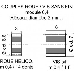 Couple roue 14 dents-vis sans fin 1 filet module 0,4