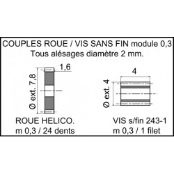 Couple roue 24 dents + vis sans fin 1 filet module 0,3