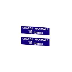 """Plaque émaillée """"charge maxi 10 tonnes"""""""