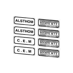 """Plaques constructeurs """"Alsthom"""" + """"CEM"""" + """"Société M.T.E."""""""