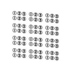 Marquages de classe ronds, 1, 2 et 3