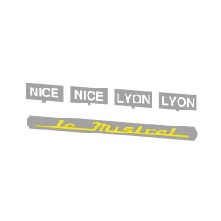 """Marquages """"Le Mistral"""" + plaques d'itinéraire, voitures Mistral 56"""
