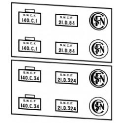 Plaques vapeurs SNCF 140 C tender 21 D
