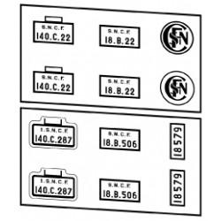 Plaques vapeurs SNCF 140 C tender 18 B ou C