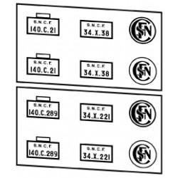 Plaques vapeurs SNCF 140 C tender 34 X