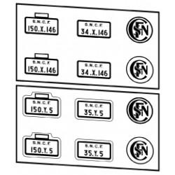 Plaques vapeurs SNCF 150 X et Y