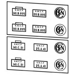 Plaques vapeurs SNCF 141 A à F