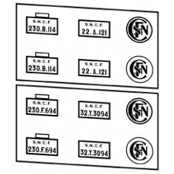 Plaques vapeurs SNCF 230 B à F