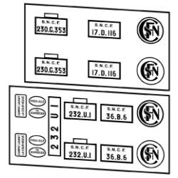 Plaques vapeurs SNCF 230 G, K, et 232