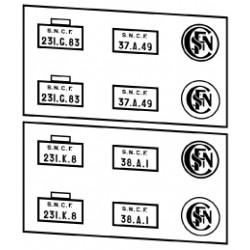 Plaques vapeurs SNCF 231 G à K
