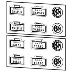 Plaques vapeurs SNCF 241 C, D et P