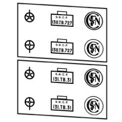 Plaques vapeurs locotenders SNCF 130 + 131 T