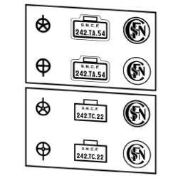 Plaques vapeurs locotenders SNCF 242 T